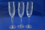Tipperary Whitechapel Irish Crystal 3 Fluted Champagne Glasses 9 3/8