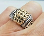John Hardy 18kt Gold And Sterling Silver Band Ring Size 7