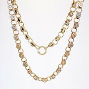 Antique Andbull Victorian 9k Rosy Yellow Gold Sun Flower Theme Book Chain Necklace