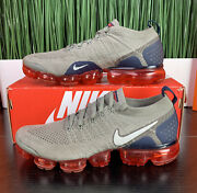 Rare Nike Air Vapormax Flyknit 2 Grey Red Blue Mens Shoes 942842-010 Size 9