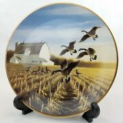 Ducks Unlimited Canada Geese In The Autumn Field Lynn Kastz Collector Plate
