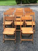 Lot Of 11 Vintage Same Snyder Wood Folding Chairs - Very Good