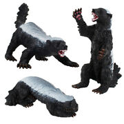 3pcs Realistic Honey Badger Figurines Wildlife Animal Model For Diy Projects