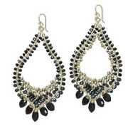 Hammered Drop Hoop Earrings Wrapped W/ Black Onyx And Spinel And Bronze Pearls