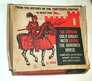 Sir Gordon The Gold Knight And Bravo The Armored Horse Vintage Marx In Box