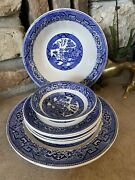 Homer Laughlin Blue Willow Assorted Dishes Serving Bowl Blue And White