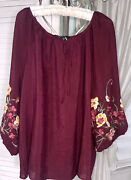 New Plus Size 2x Burgundy Red Blouse Peasant Embroidered Floral Top Shirt