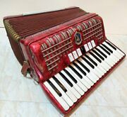 Vintage Old Italian Accordion Red Paolo Soprani 80 Bass Musical Instrument 1967