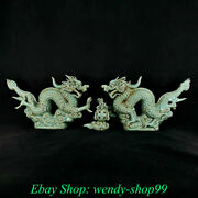 Old China Song Dynasty Ru Kiln Porcelain Feng Shui Dragon Lucky Sculpture Pair