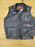 Woolrich Vest Size Large Mens Blue Flannel Lined Usa Nylon Shell Hunting Hiking
