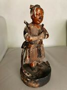 An Antique Japanese Gilt And Polychromed Carved Wood Figure