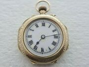 Antique 1908 Swiss Made 14k Gold And Enamel Ladyand039s Pocket Watch Rare 21.5 G Vgc