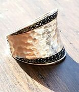 John Hardy Wide Hammered Black Sapphire Cigar Band Ring So Nice In Jh Pouch