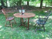 Antique 19th Century French Walnut Tilt Top Wine Table Full-grain Leather Top