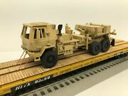 Mth Premier 60' Flat Car With Custom Military M1089a1 Tow Truck O Scale Army Ttx