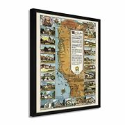 1949 California Map Poster - Framed Vintage Map Of California Missions Wall Art