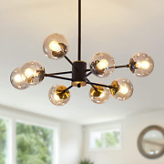 8 Light Chandelier Pendant Lighting Black With Glass Globes Classic Vintage For