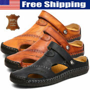 Mens Round Toe Slippers Hand Stitching Walking Closed Toe Leather Sandals Casual