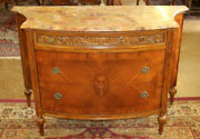 inlaid Mixed Wood French Marble Top Chest Server Buffet Commode Circa 1920and039s