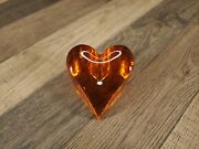 Fire And Light Glass Recycled Heart Signed Orange Paperweight Halloween Fall