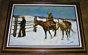 Original Vintage Oil On Canvas Cowboys And Horses Winter Painting Framed Kovach