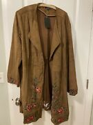 Curations 3x Light Brown Faux Suede Open Front Floral Embroidered Jacket-3x-nwt