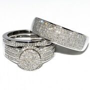 His And Her 14k White Gold Fn Diamond Wedding Bridal Trio Engagement Ring Sets