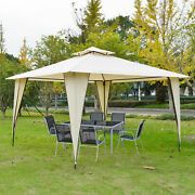 12' X 12' Outdoor Canopy Tent Party Gazebo With Double-tier Roof Beige