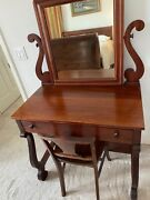 Antique Mahogany Vanity Desk Dressing Table W Mirror And Chair 19th Century