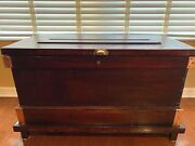 Antique Rustic Wooden Blanket Storage Chest Coffee Table 19th Century