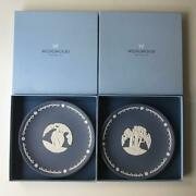 Wedgwood Jasper Adam And Eve Pair Plate Vintage Collectors Society Edition