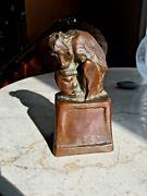 1912 - Blanca Will - Antique Bronze Sculpture - Mother And Child Baboons