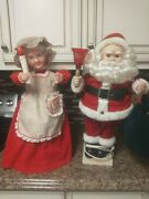 Vintage Telco Motion Santa Claus And Mistress Claus Figurine Free Shipping Sweet
