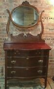 Antique Vanity Dresser Chest Of Drawers W Attached Mirror And Curved Drawers