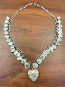 Victorian Sterling Silver 31 Puffy Heart Charm Necklace Top Lid Heart Holder 77g