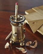 Desk Fidget Pencil Sharpener With Flywheel German-made Of Cast And Machined Brass