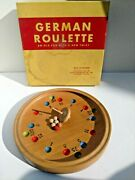 Vintage Wooden German Roulette Top Spinning Game Complete In Box Made / Germany