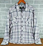 Lot Of 3 Mens 2xl Bke Athletic Fit Shirt L/s Pearl Snap Western Plaid Purple Red