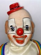 """Vintage Porcelain Dynasty Doll Male Hobo 18"""" Clown Rainbow Suspenders Red Shoes"""