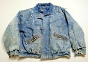 Vintage Expressions Denim Jacket Xl Mens Distressed Faded Insulated