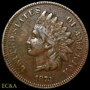 1873 Indian Head Cent Favorite Snow-1 Double Liberty Closed 3, Rare Ih698