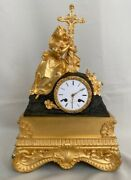 Antique French Religious Gilt Bronze Figural Mantel Clock Lady With A Cross