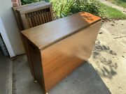 Antique Wooden Romania Drop Leaf Rolling Table Set W4chairs 1960s