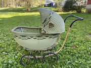 Antique Vintage Wicker Metal Baby Stroller /buggy / Carriage / Photography Prop