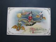 Halloween Postcard Winsch Witch On Flying Owl Gnomes Unused A-1 Antique Vtg