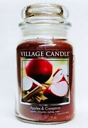 1 Village Candle Apples Cinnamon Large 2-wick Classic Jar Candle 21.25 Oz