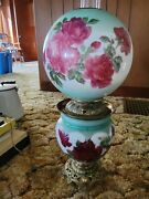 Gone With The Wind Hurricane Style Oil Lamp Electrified With Roses Red Andgreen