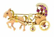 Retro Ruby Cabochon 14 Karat Two-tone Gold Horse And Carriage Brooch
