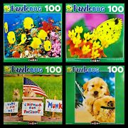 Lot Of 4 Puzzles 100 Pc By Puzzlebug 8 X 11 Butterfly Fish, Puppy, Chipmunk New