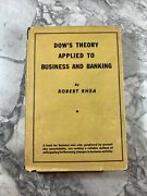 1938 Antique Finance Book Dow's Theory Applied To Business And Banking Rare